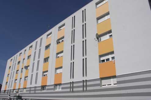 Polychromie d'un immeuble rue de Lattre de Tassigny à MAIZIÈRES-LÈS-METZ
